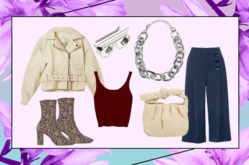 С чем носить кюлоты: ботильоны H&M, сумка Mango, байкерская куртка