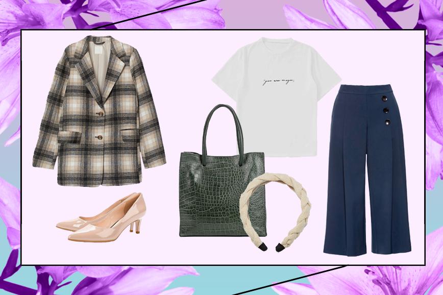 С чем носить кюлоты: прямой жакет H&M, футболка с принтом, бежевые туфли и сумка Baggini