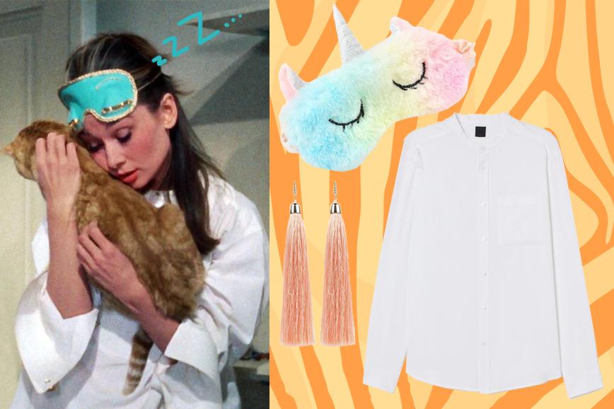 Маска для сна и белая рубашка в стиле «Завтрака у Тиффани»