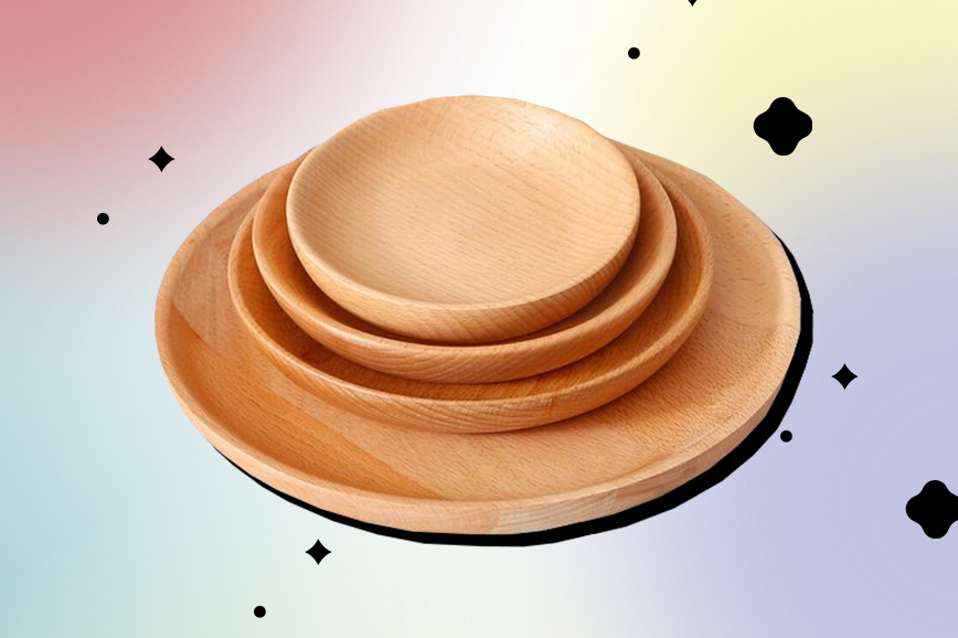 Товары для кухни: тарелки из дерева