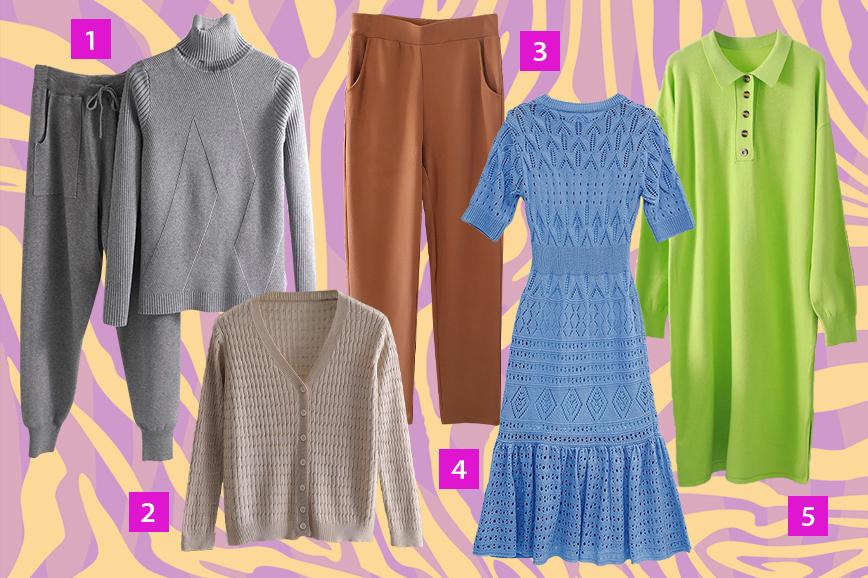 В трендах осени 2020 — платья, кардиганы и брюки из трикотажа