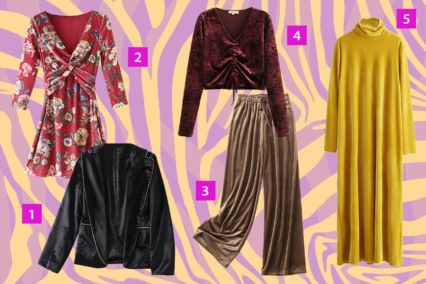 Осенью будут модными велюровые платья и брюки