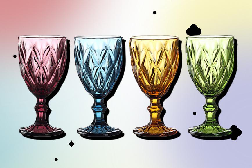 Гранёные бокалы для вина