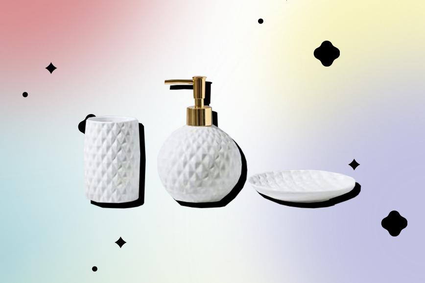 Как украсить ванную: набор для мыла и зубных щёток