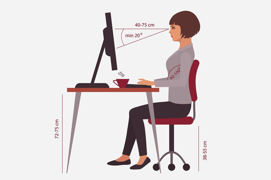 Как правильно сидеть за рабочим столом перед компьютером, чтобы не уставали глаза
