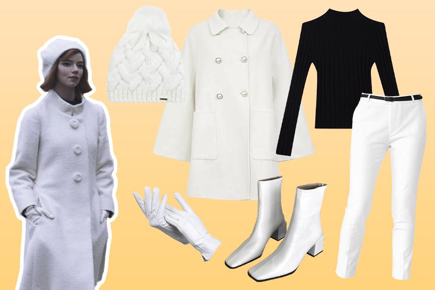 Образы из сериала Ход королевы: белый костюм