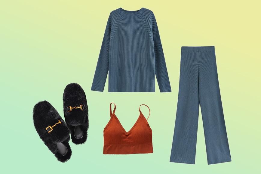 теплая домашняя одежда: трикотажный костюм