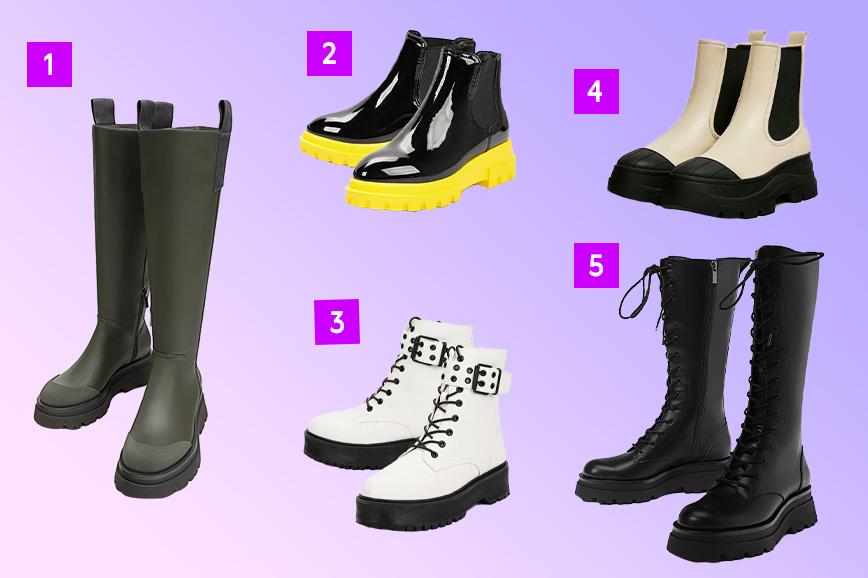 как одеться тепло и стильно зимой: обувь на толстой подошве