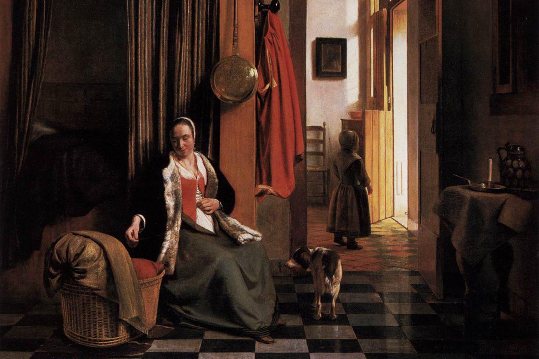 картина Питера де Хоха «Женщина шнурует лиф у колыбели»