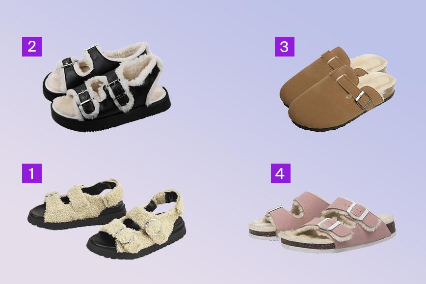 тренды обуви на весну: сандалии с мехом