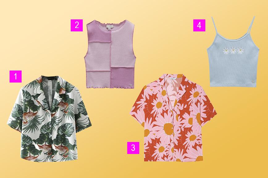летняя одежда: гавайские рубашки и топы с рисунком
