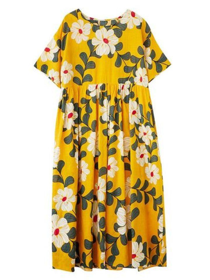 необычные платья: роба с цветочным принтом