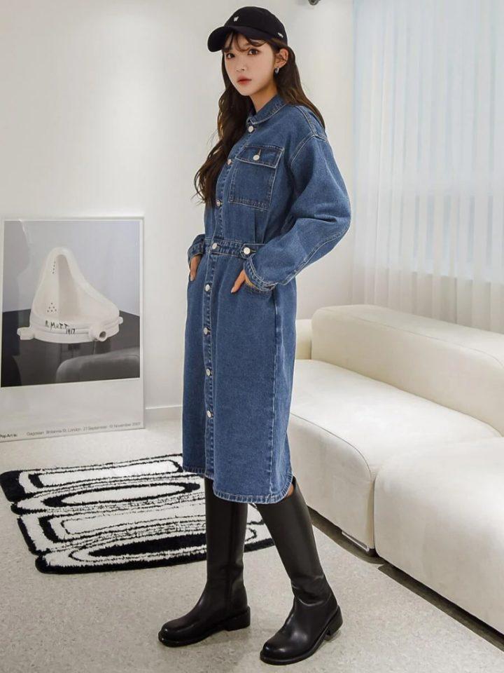 джинсовое платье на осень